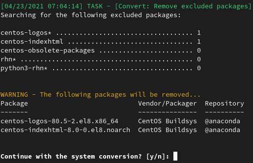 fig 1 convert2rhel lists the excluded packages