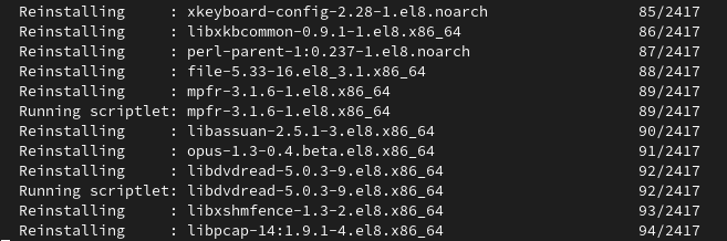 fig 5 convert2rhel conversion runs without further prompts