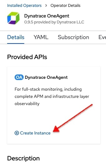 dynatrace oneagent create instance