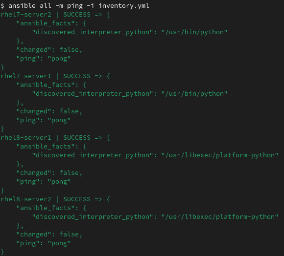 RHEL System Roles ansible ping module example
