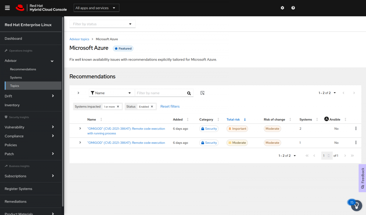 Insights Azure list of recommendations