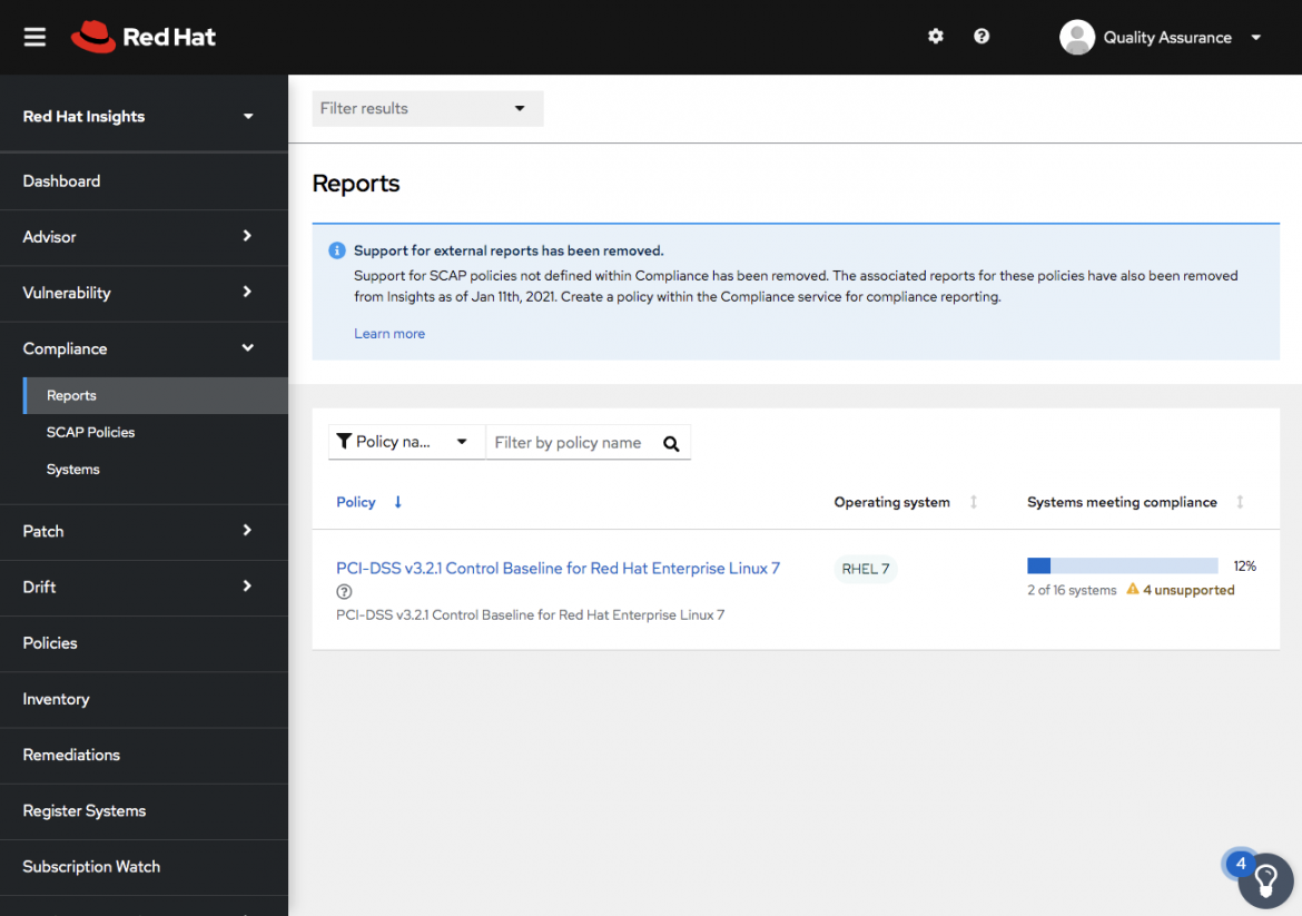 Figure 1. Compliance reports highlights 4 systems running unsupported configs in this view