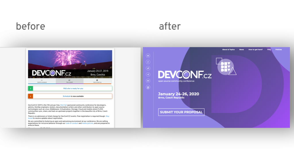 Before and after images of DevConfCZ website