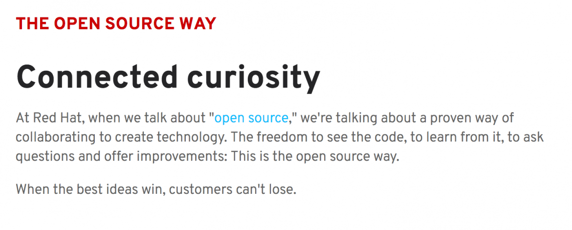 Red Hat open source page
