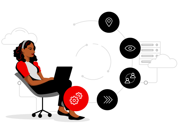 woman working on computer surrounded by clouds and the five process journey: last step