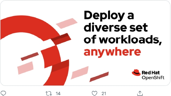 Twitter post from Red Hat's corporate account that features a product-specific graphic incorporating an official Red Hat product logo