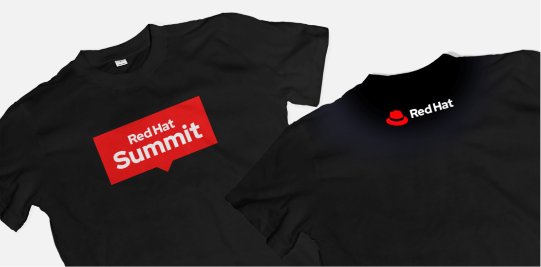 Black T-shirt with Red Hat Summit logo on front and Red Hat logo on back
