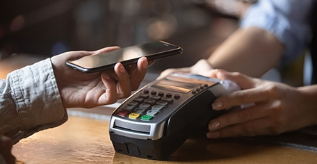 phone being scanned as payment