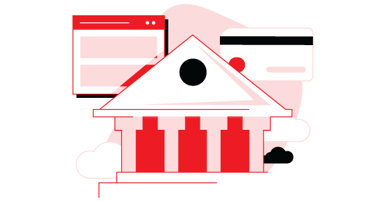 Drawing of a government building, credit card, and browser