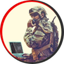 Soldier using technology in the field