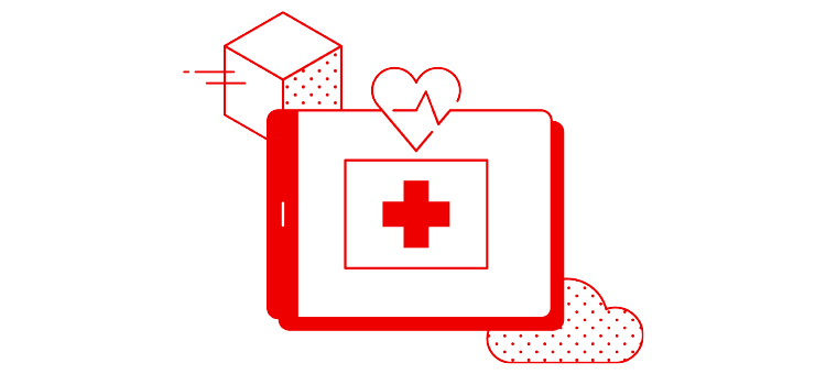 healthcare illustration tablet with a heartbeat