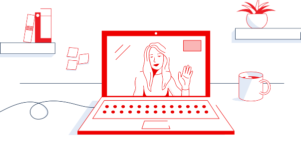 Illustration of a friendly person on a laptop screen