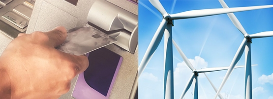 Multi-industry image with ATM and wind turbine