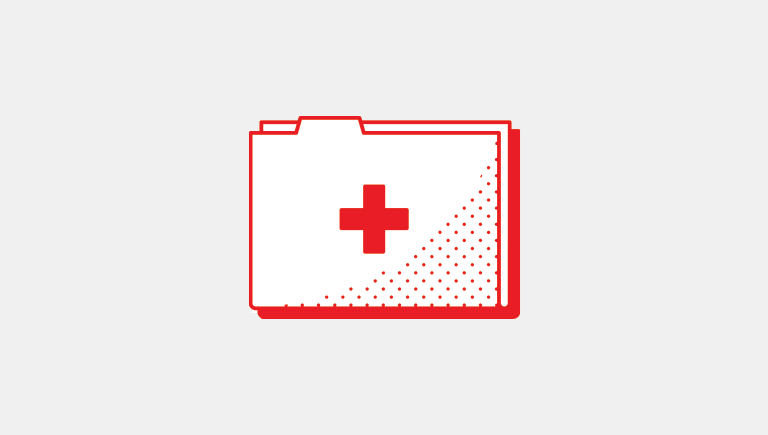 folder with a red cross to symbolize academics and healthcare