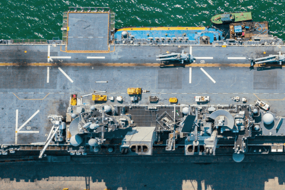 Section of an aircraft carrier