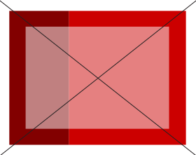 White rectangle over two different reds turns pink