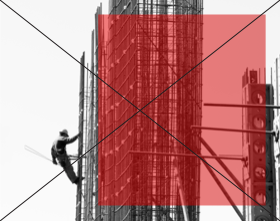 Red transparent rectangle on top of black & white image