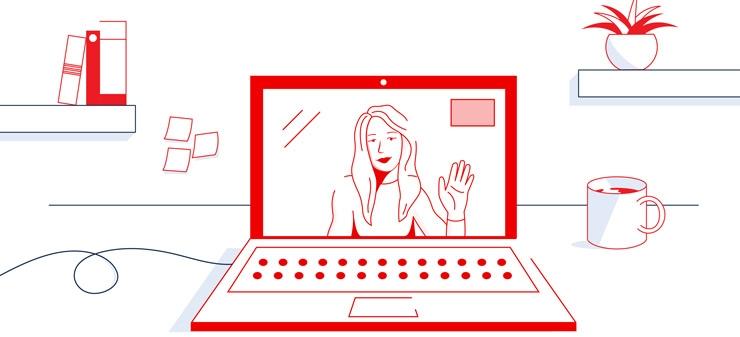 illustration of laptop with video chat