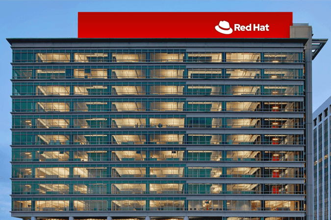 Red Hat logo on headquarters