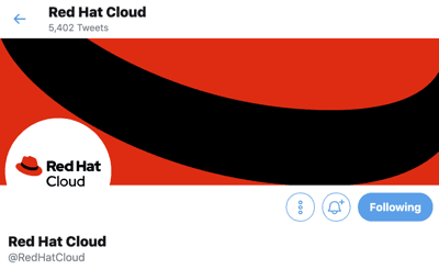 Screenshot of a Red Hat twitter account page