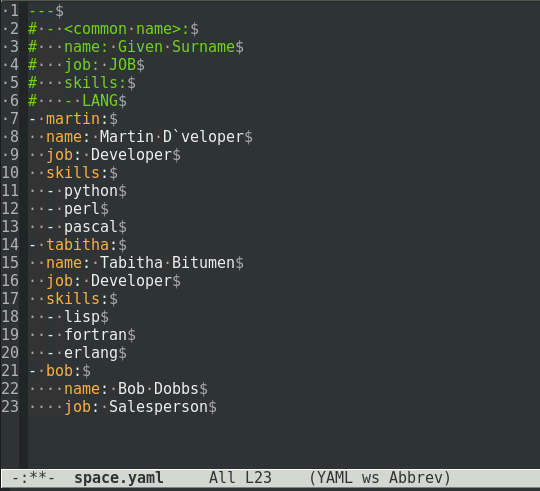 Emacs in YAML and whitespace mode