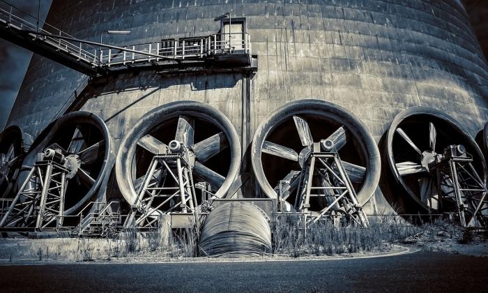 Industrial fans at base of a tower
