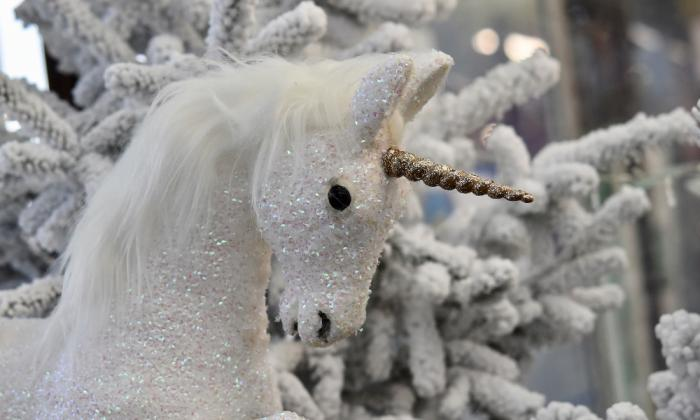 Unicorn project with snowy tree