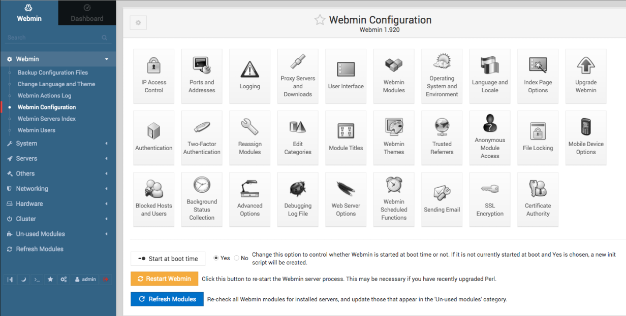 Webmin configuration options.