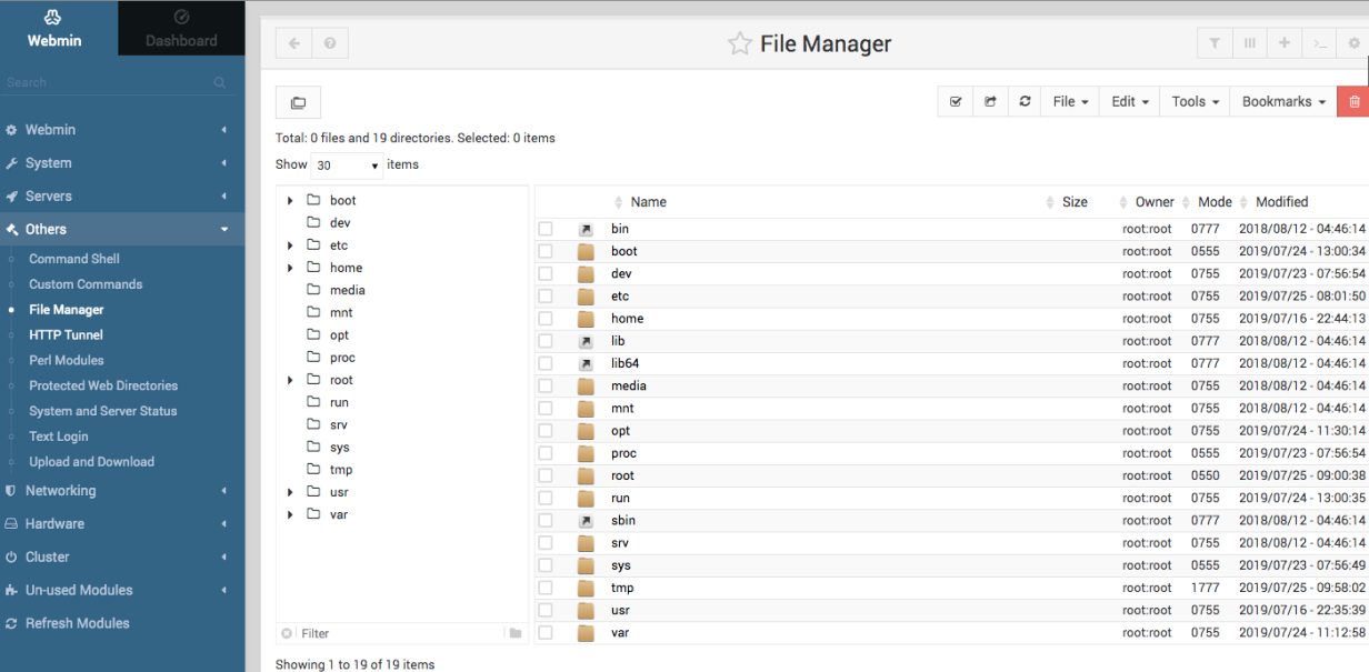 The Webmin Others page's Graphical File Manager tool.