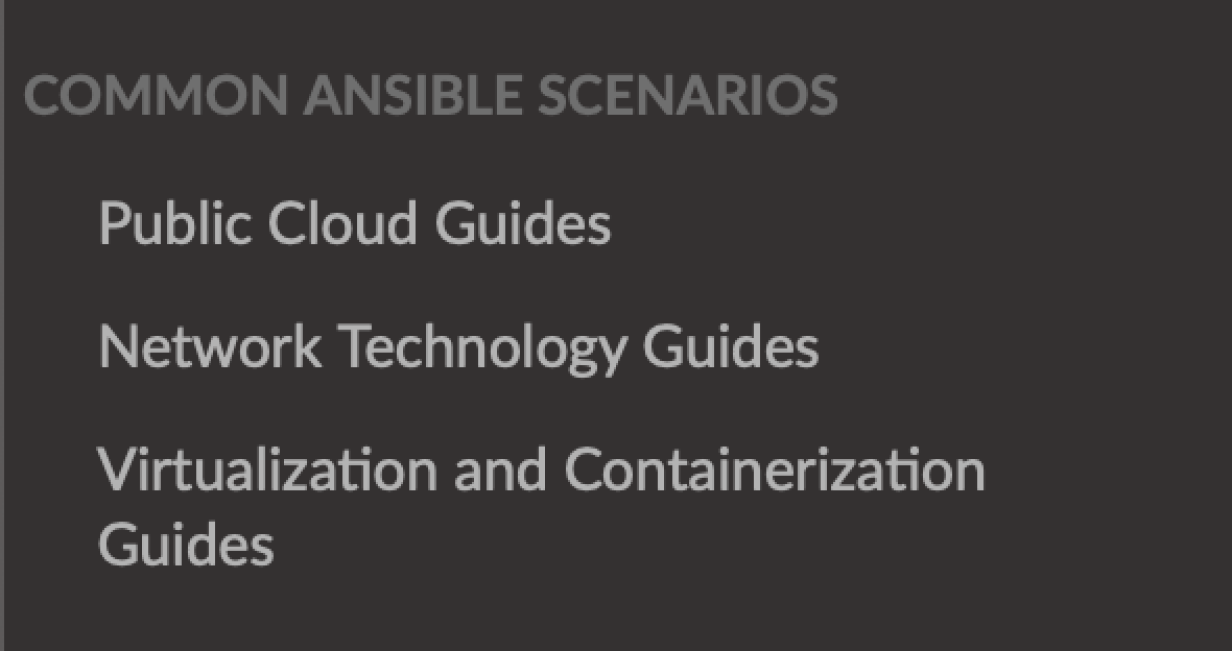 The common scenarios section of the Ansible documentation.