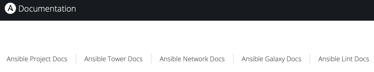 The Ansible documentation web page, main pane.