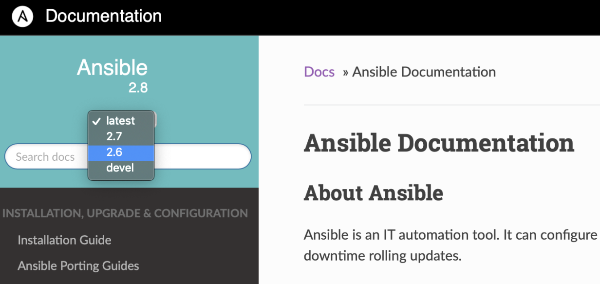 The Ansible documentation versions drop-down.