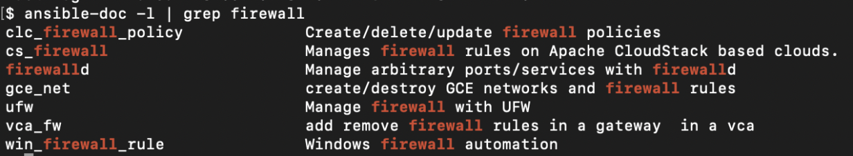 Grepping the output of ansible-doc for the firewall docs.