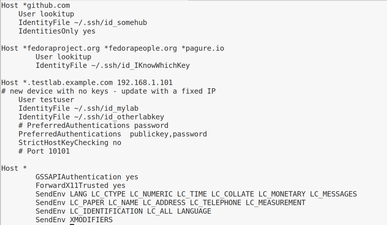 Example ~./ssh/config section.