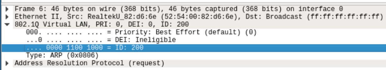 The 802.1Q field in a packet capture.