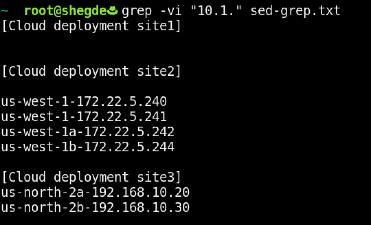Using grep to remove a subnet.