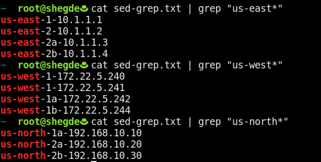Using grep to only show certain regions.