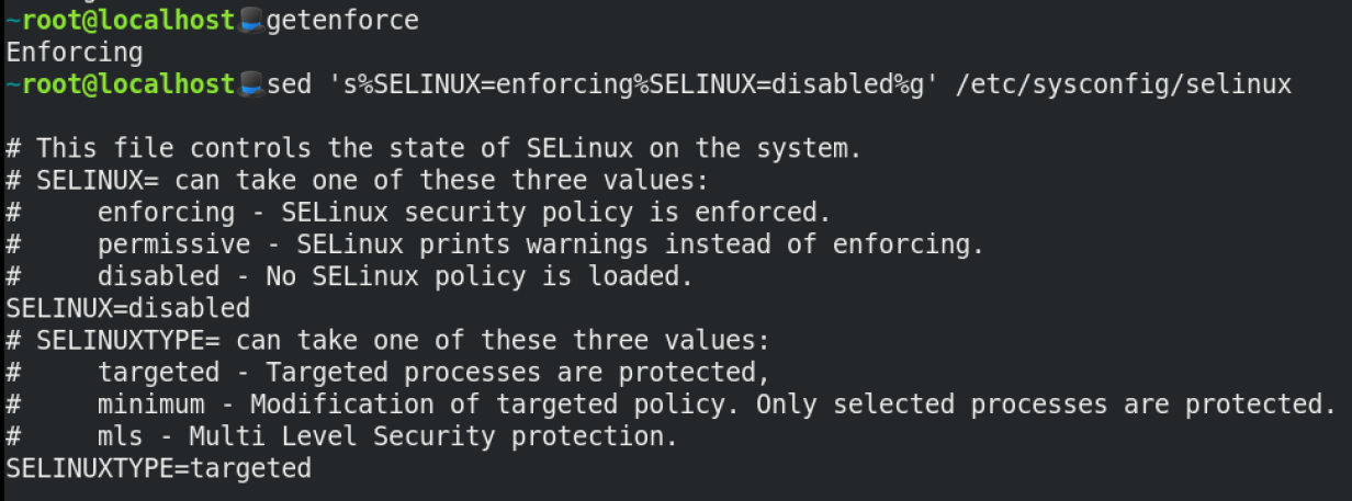Using sed to manipulate SELinux.