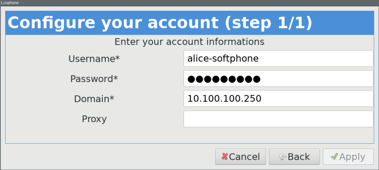 The Linphone account configuration screen.