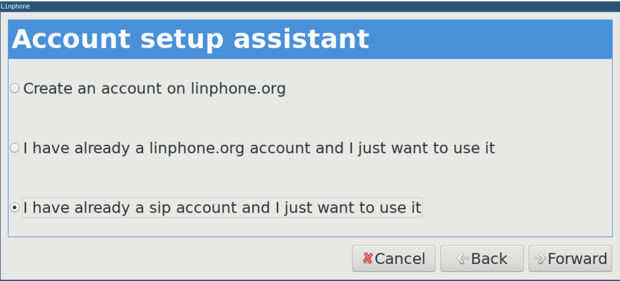 The Linphone Account setup assistant page.