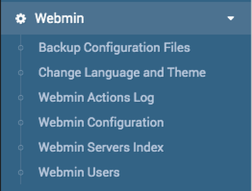 Webmin's internal configuration menu.